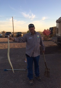 landfill employee with snake