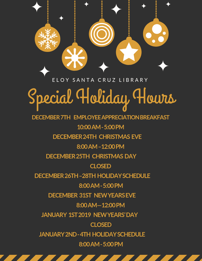 Special Holiday Hours for