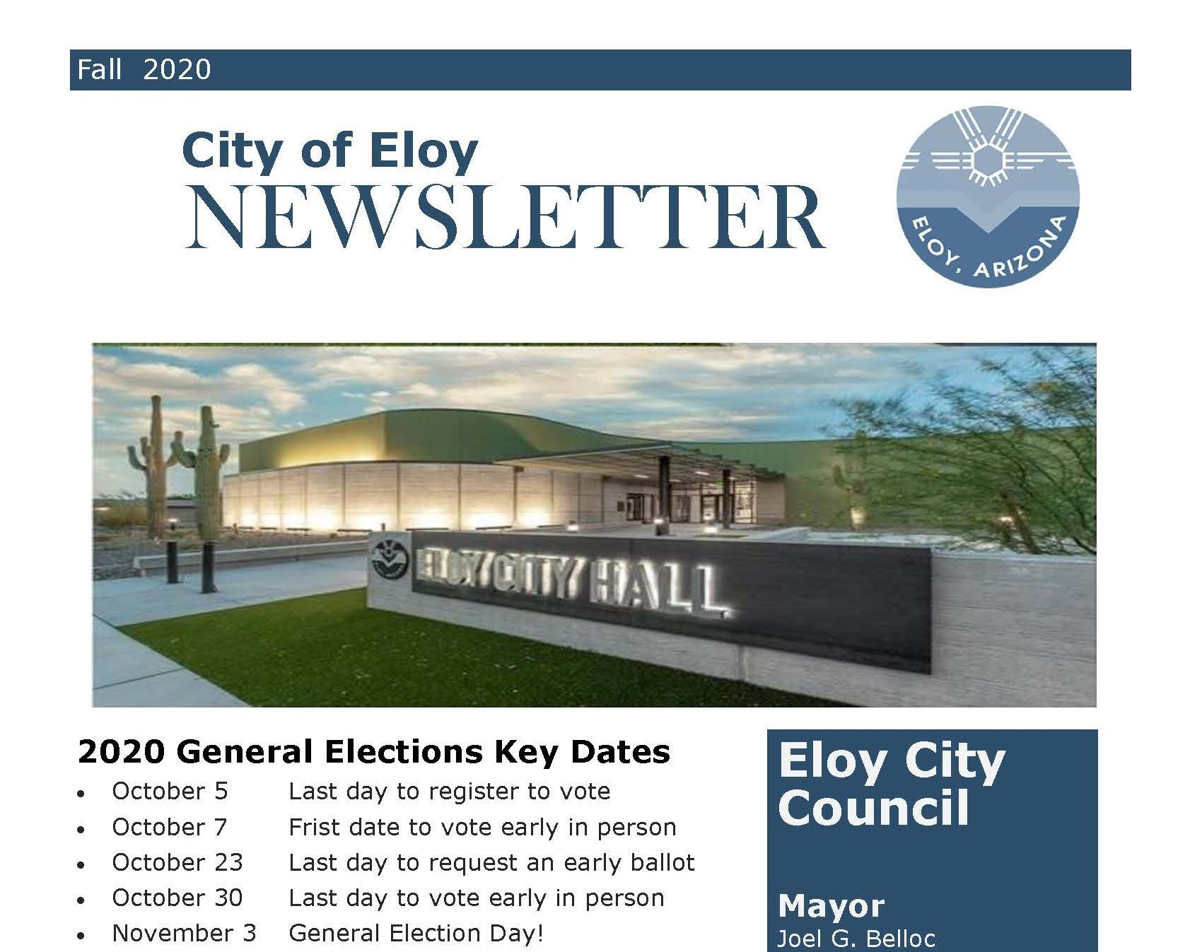 Front Cover of Fall Newsletter 2020