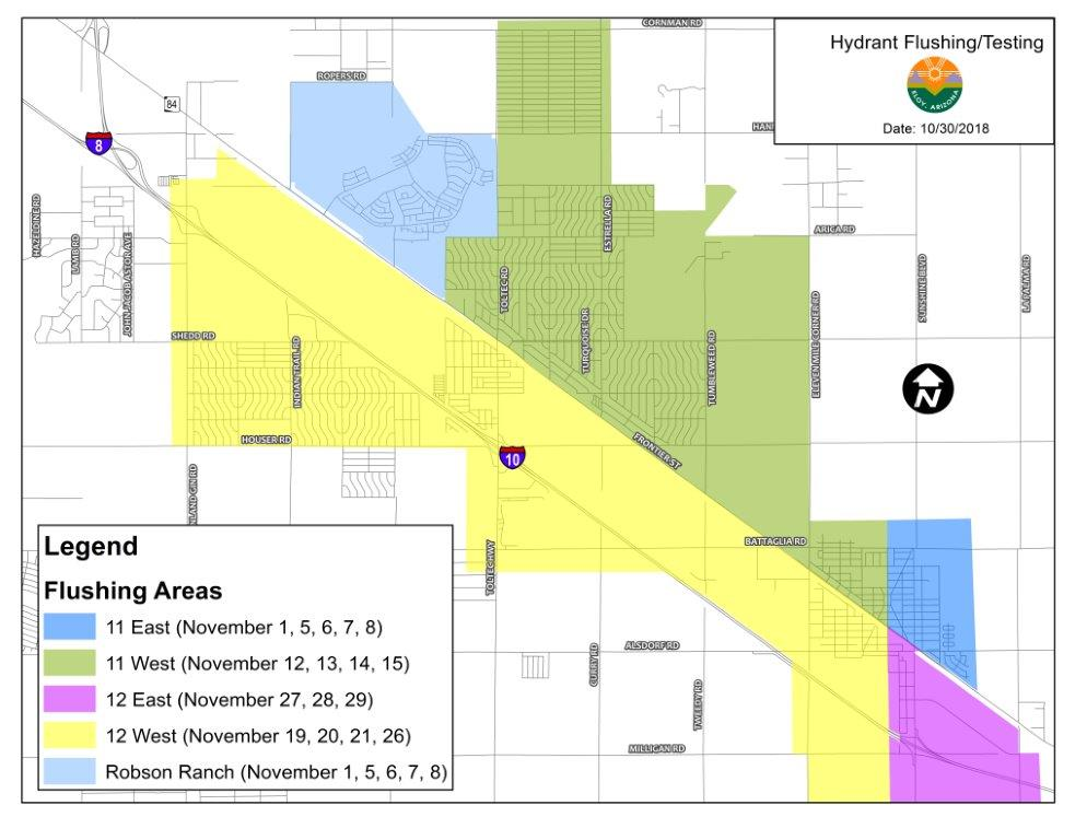 Eloy Hydrant Flushing Map 2018